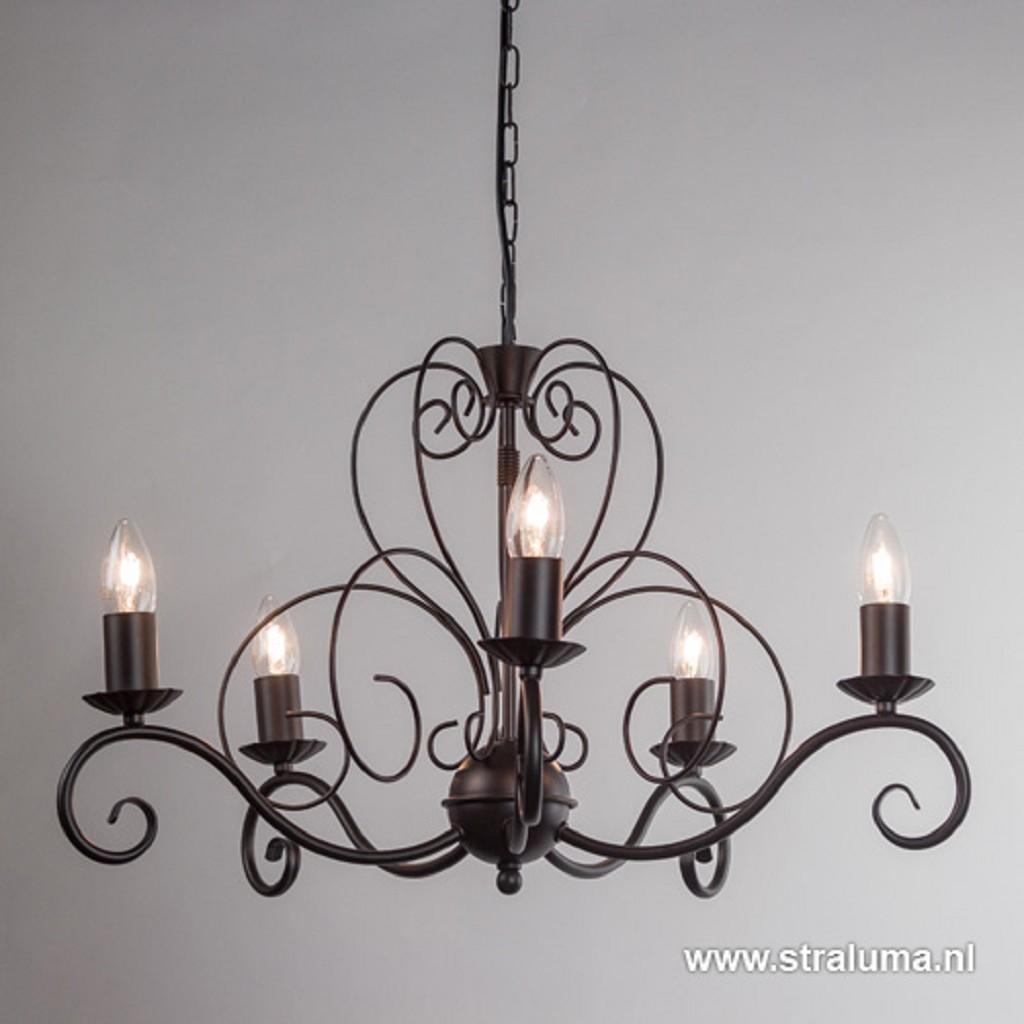 Klassieke hanglamp-kroon bruin 5-lichts