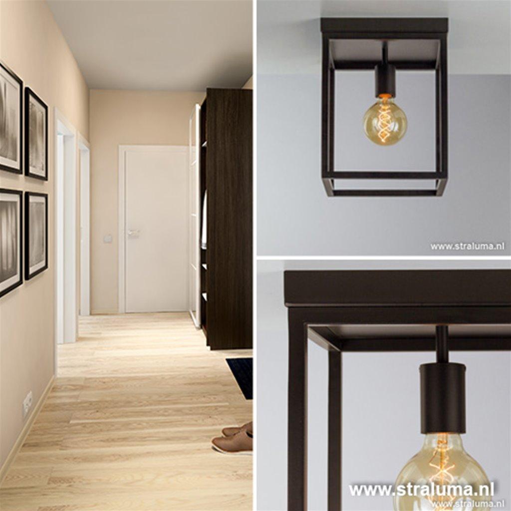 Bruine plafondlamp Frame vierkant
