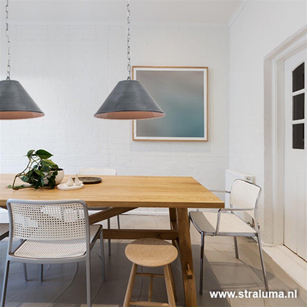 Eettafel hanglamp betonlook 2-lichts