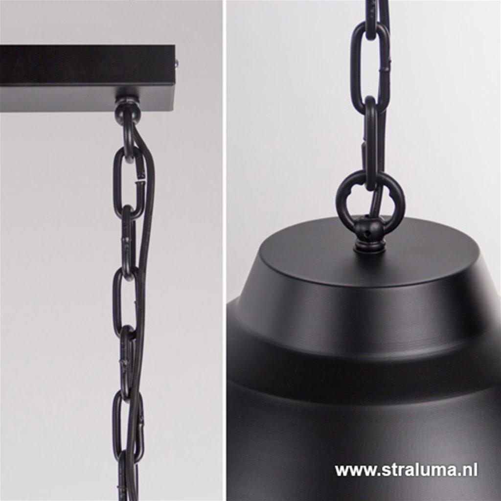 Zwarte eettafel hanglamp 2-lichts