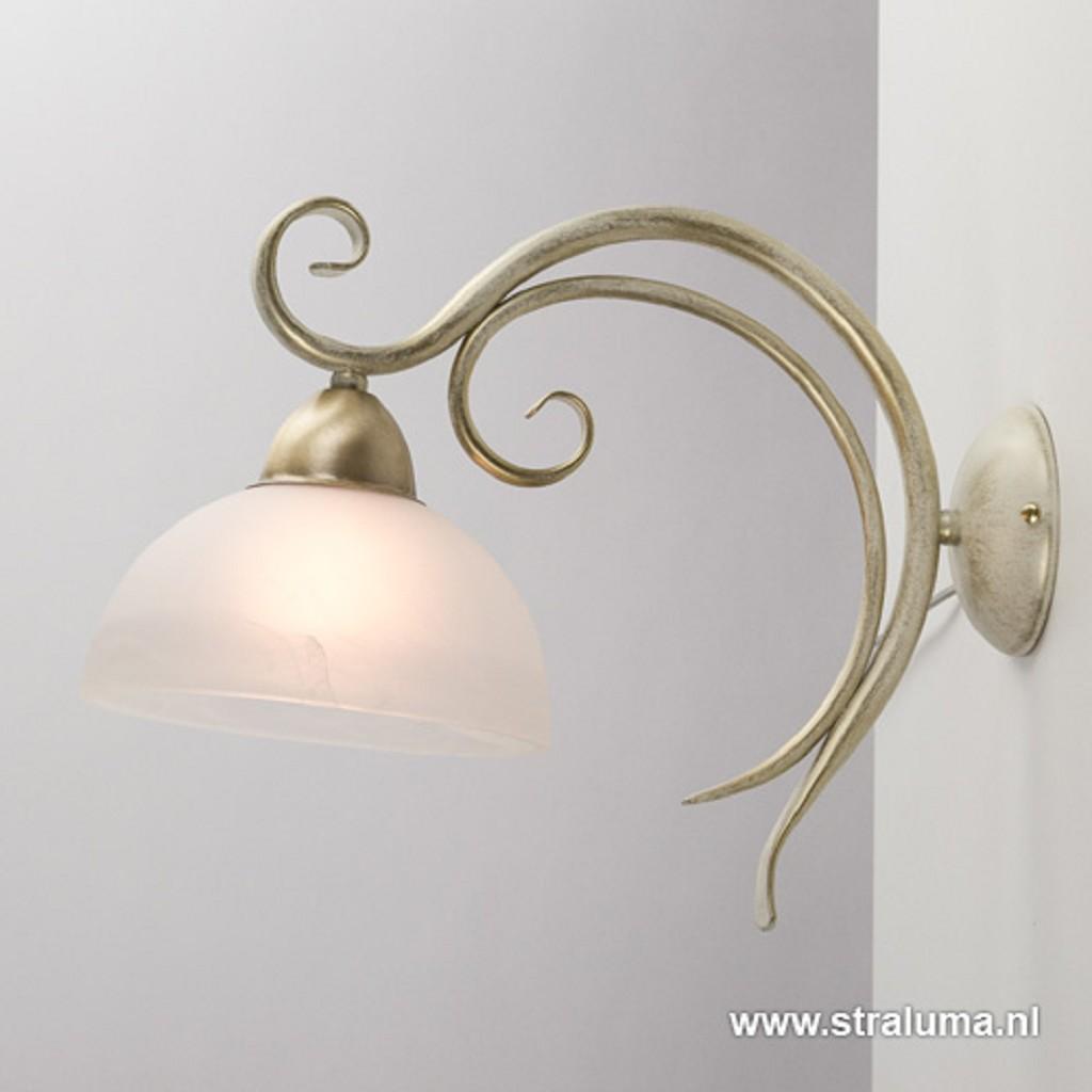 Wandlamp creme met goud