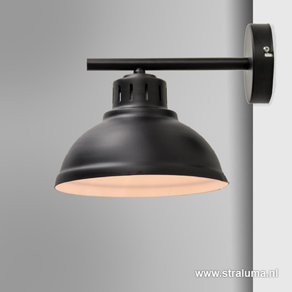 Zwarte wandlamp metaal