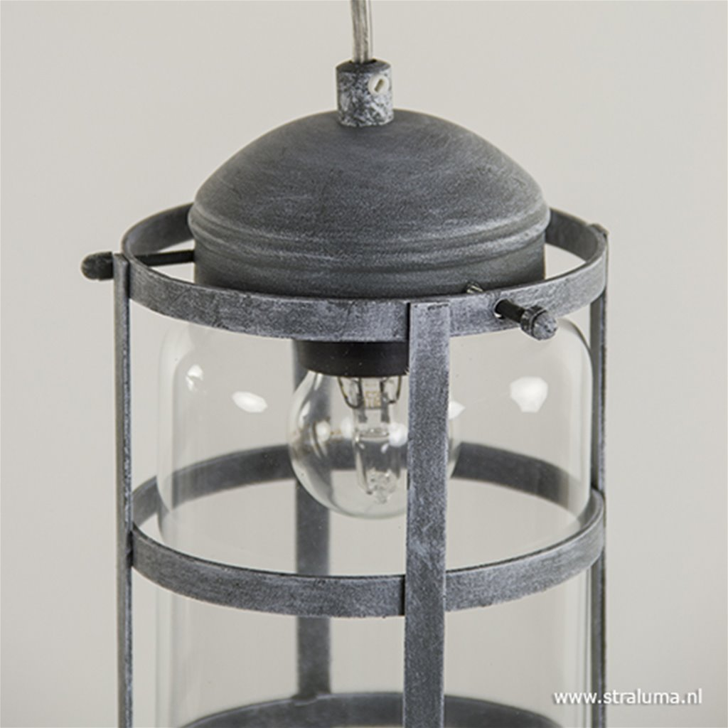 Industrie kooi hanglamp beton 3-lichts