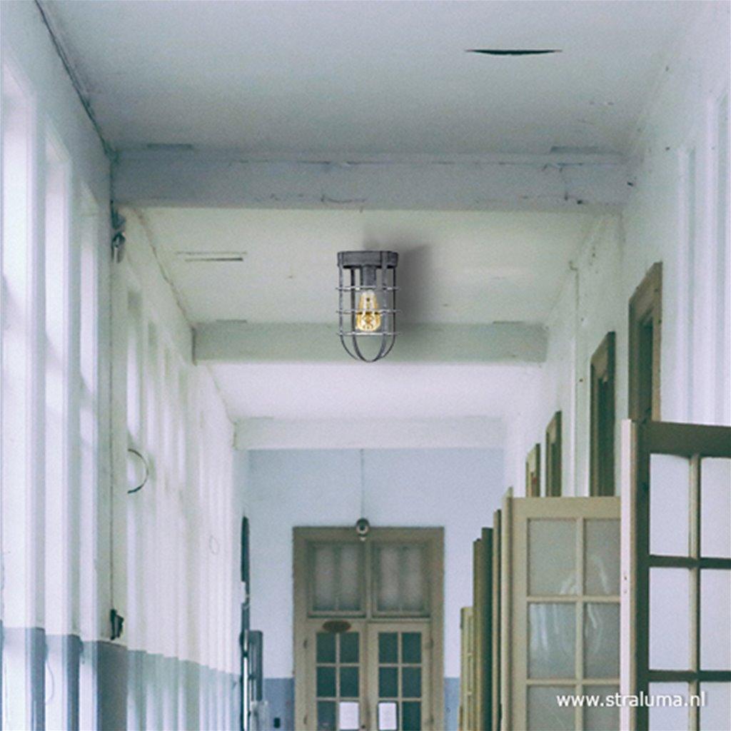 Industriele plafondlamp betonlook kooi