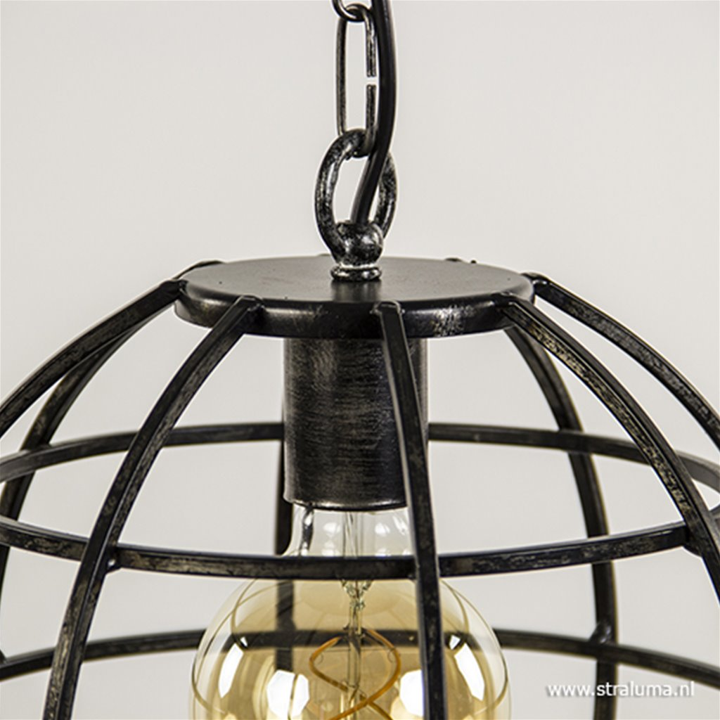 Industriele hanglamp globe zwartstaal 28