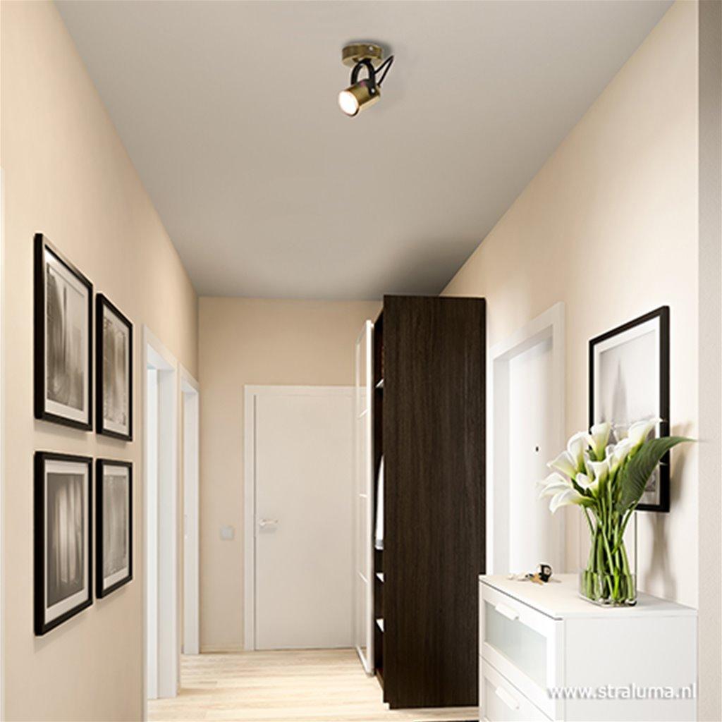 1-lichts plafondspot brons met zwart