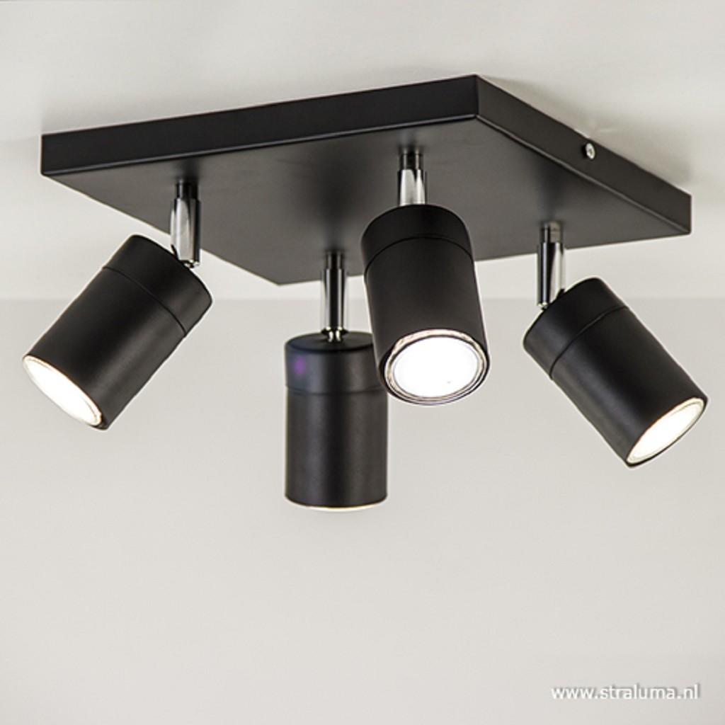 Vierkante plafondspot 4-lichts zwart