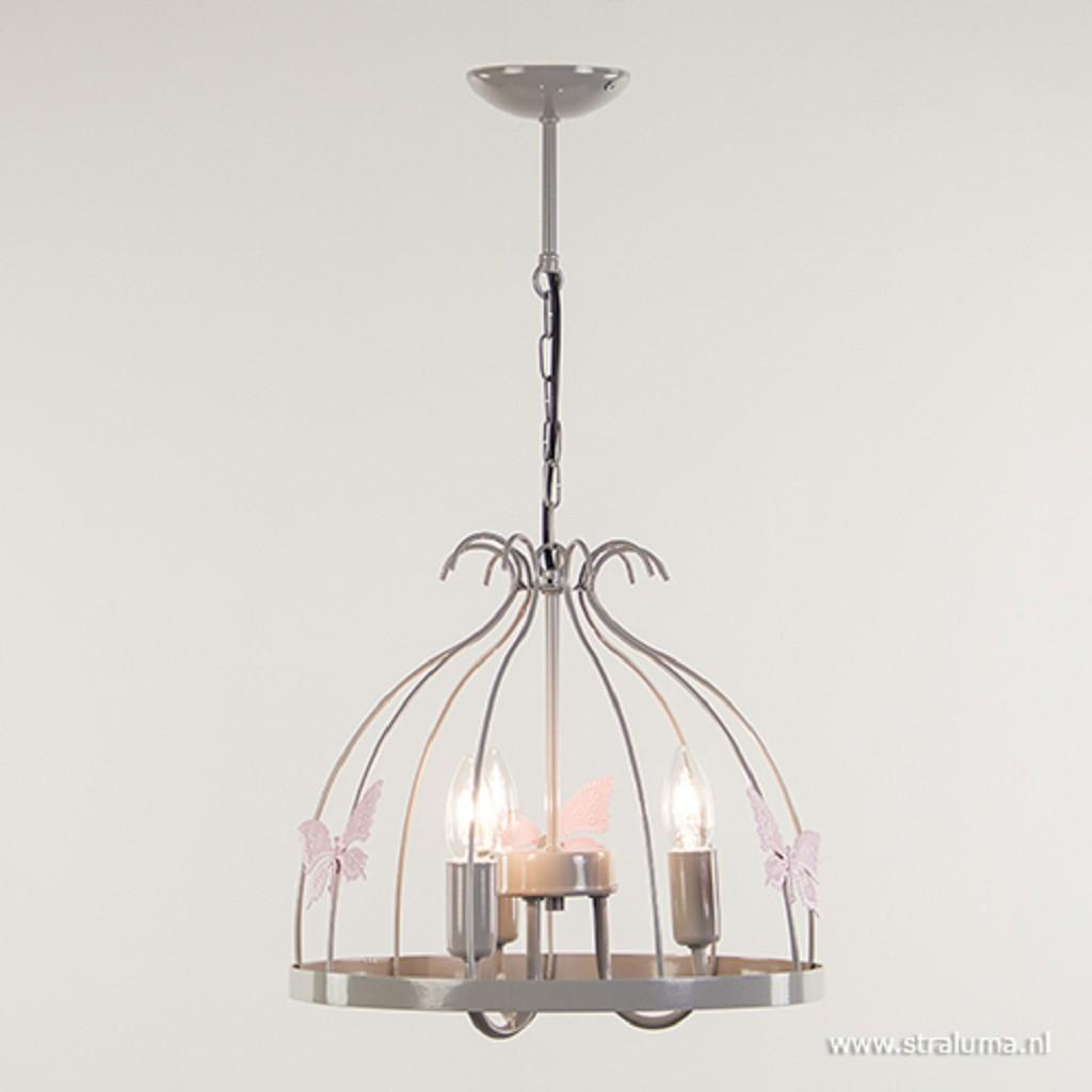 Grijze hanglamp-kroon met vlinders