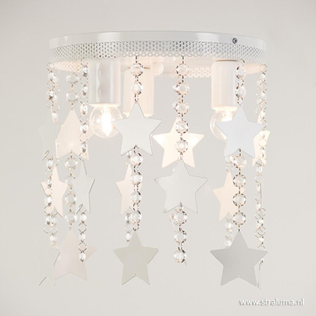 Plafondlamp wit met kristal en sterren
