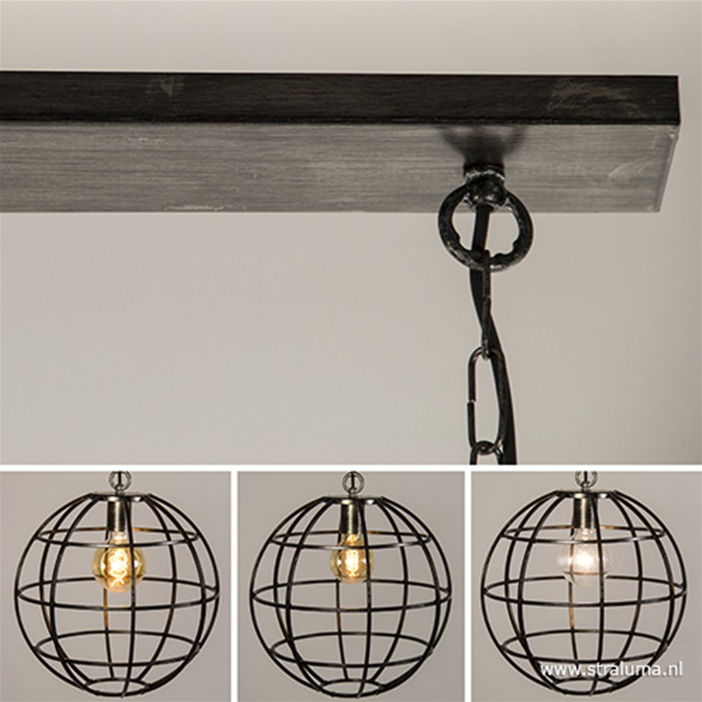 *Eettafel hanglamp 2-lichts globe metaal