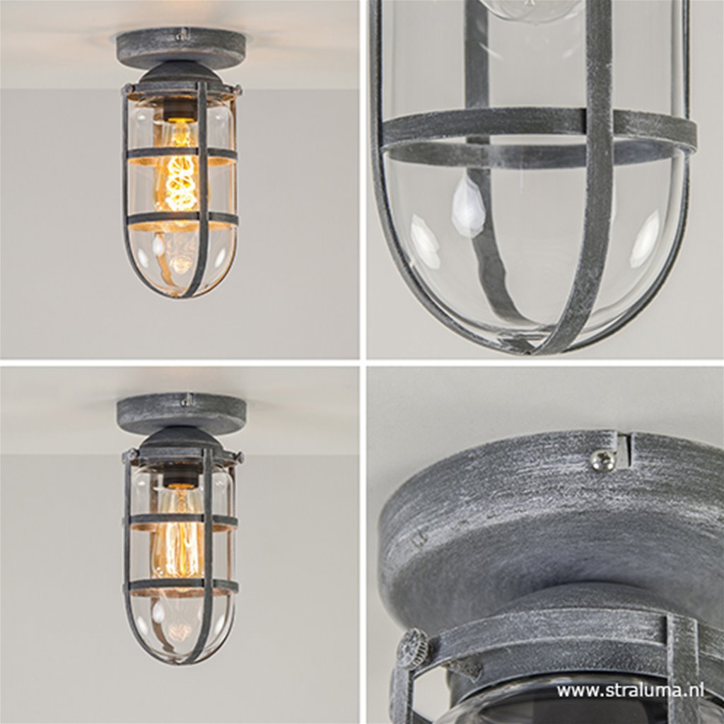 Kooi- plafondlamp beton/grijs met glas