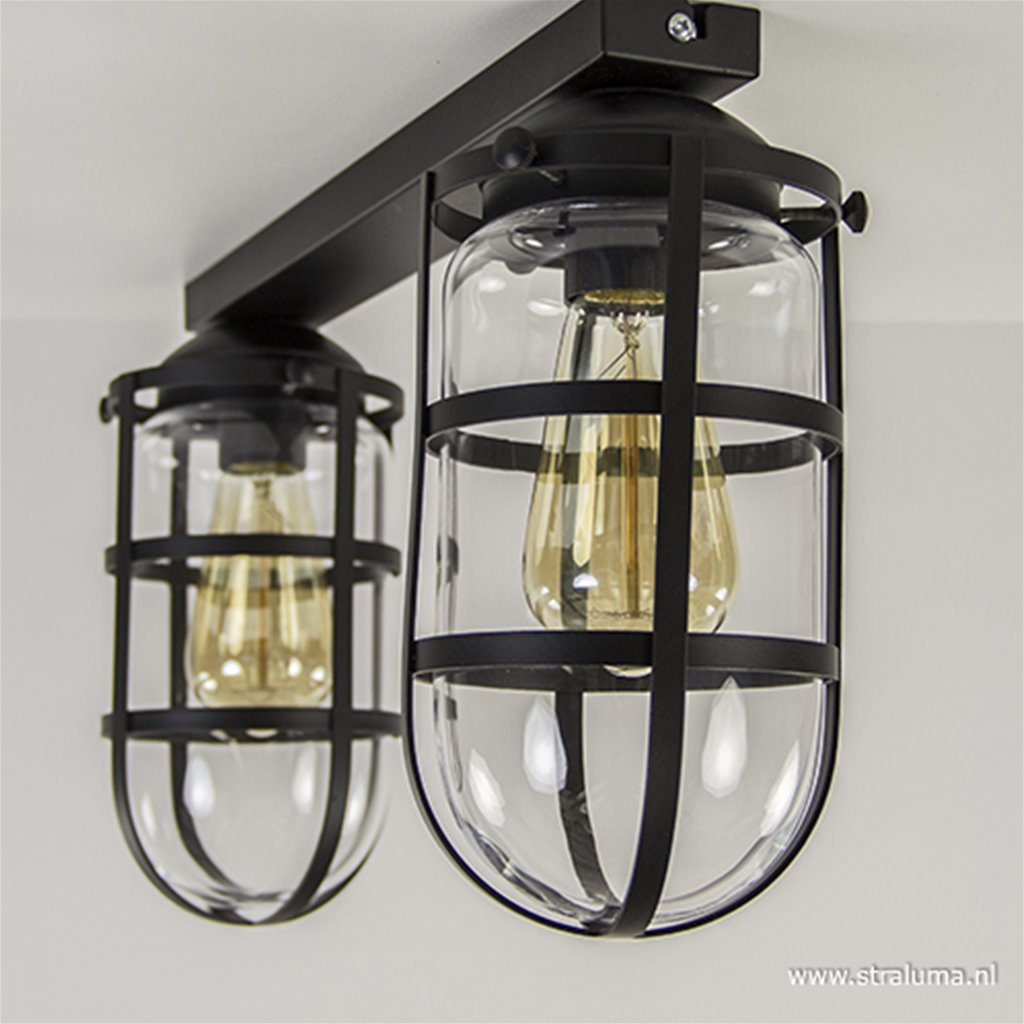 2-lichts Kooi-Plafondlamp zwart glas