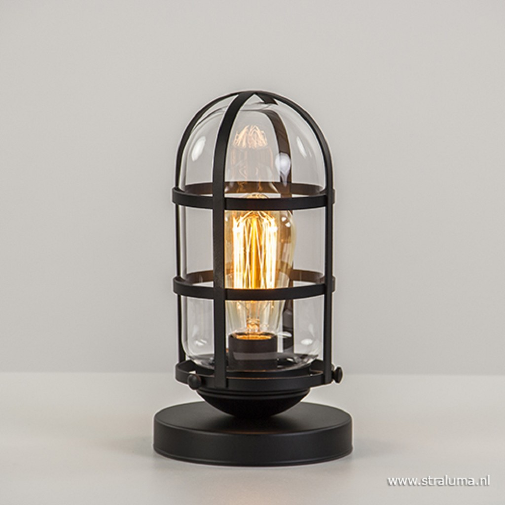 Zwarte kooi tafellamp industrieel  glas