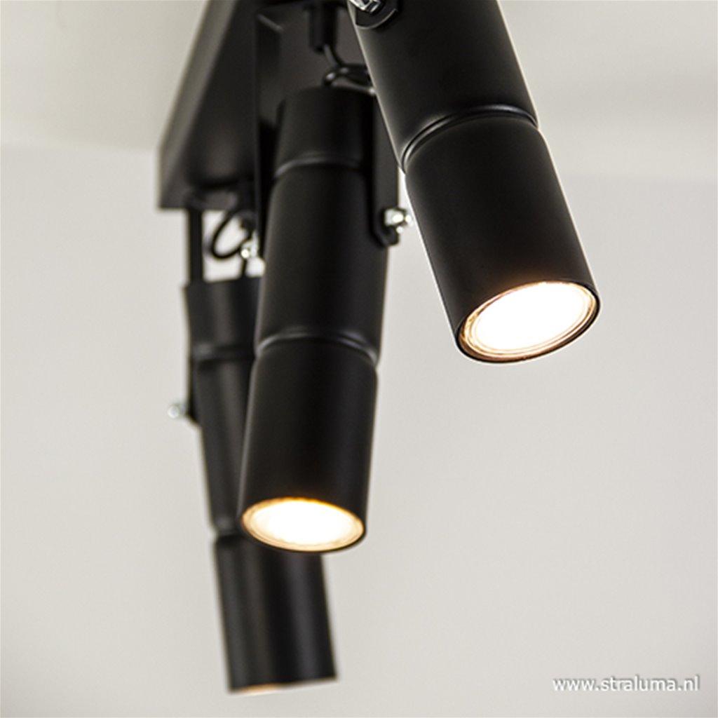 Verstelbare 3-lichts plafondspot zwart