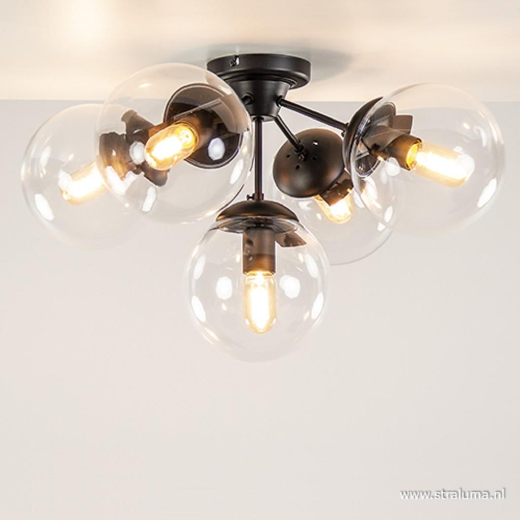 Plafondlamp zwart + 5x helder glasbol