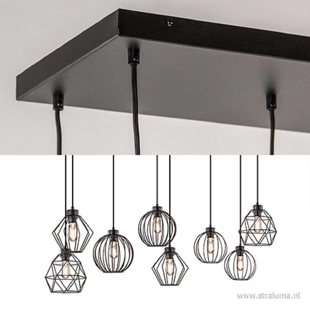 Grote hanglamp met 8 draadlampen