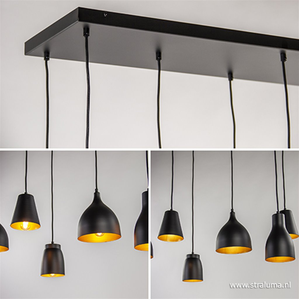 Grote luxe hanglamp 8-lichts zwart/goud