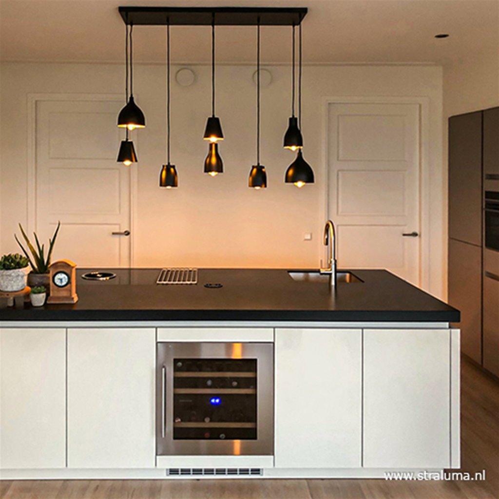 Hanglamp 8-lichts zwart/goud multivormen