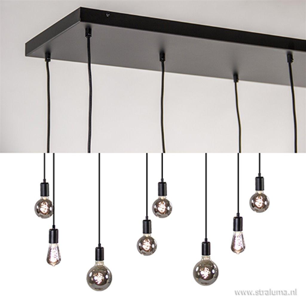 Hanglamp 8-L plaat 110cm zwart ex.e27