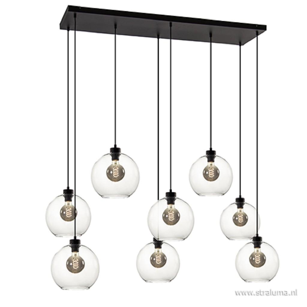 Grote 8-lichts hanglamp met helder glas