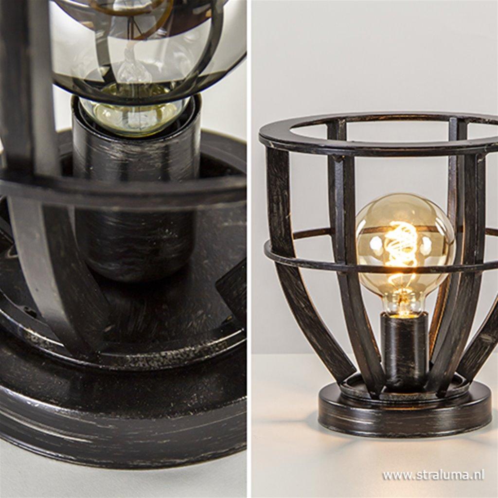 Metalen tafellamp antiek zwarte finish