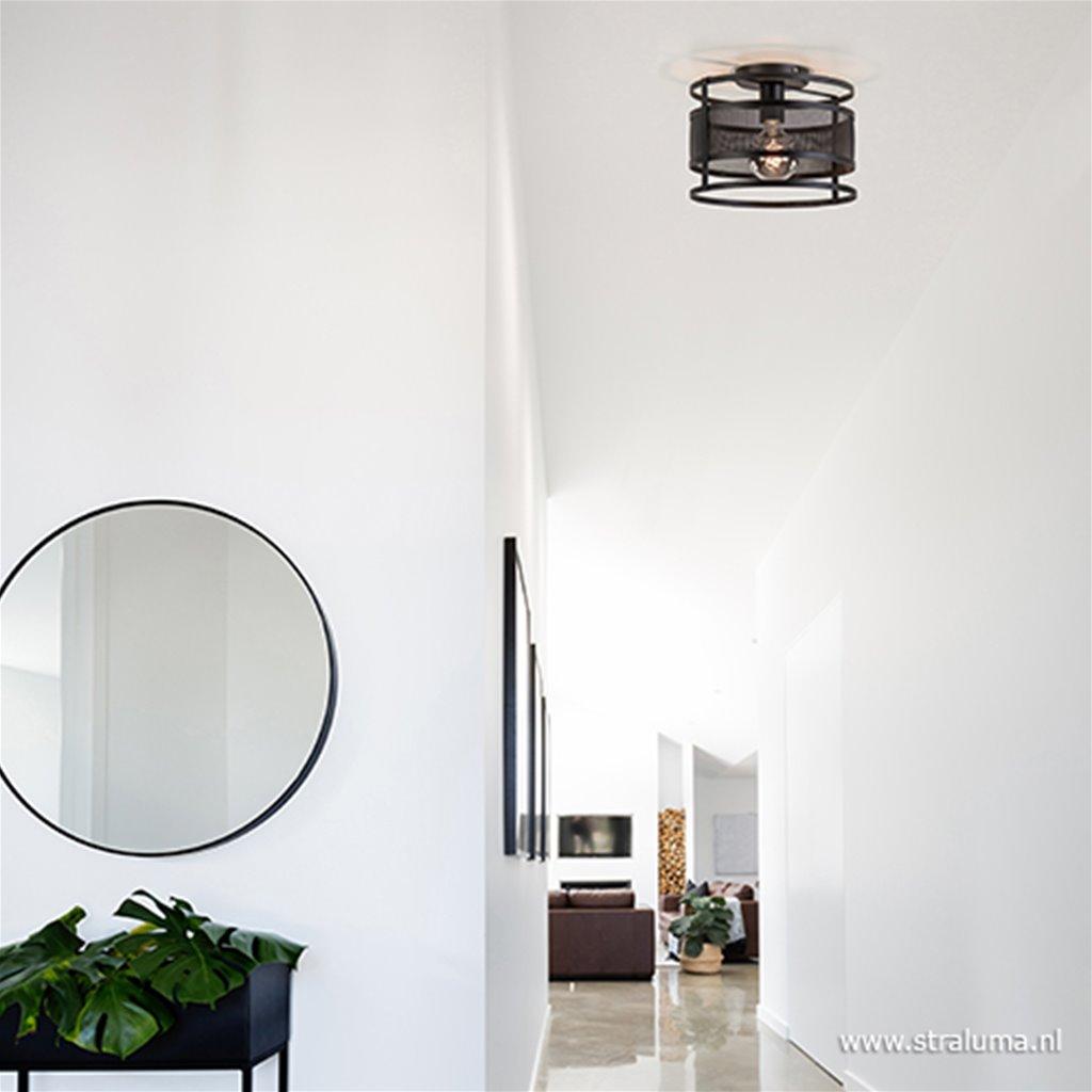 Ronde plafondlamp zwart metaal
