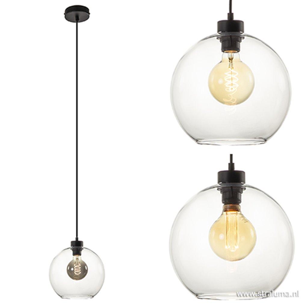 Glazen hanglamp helder rond