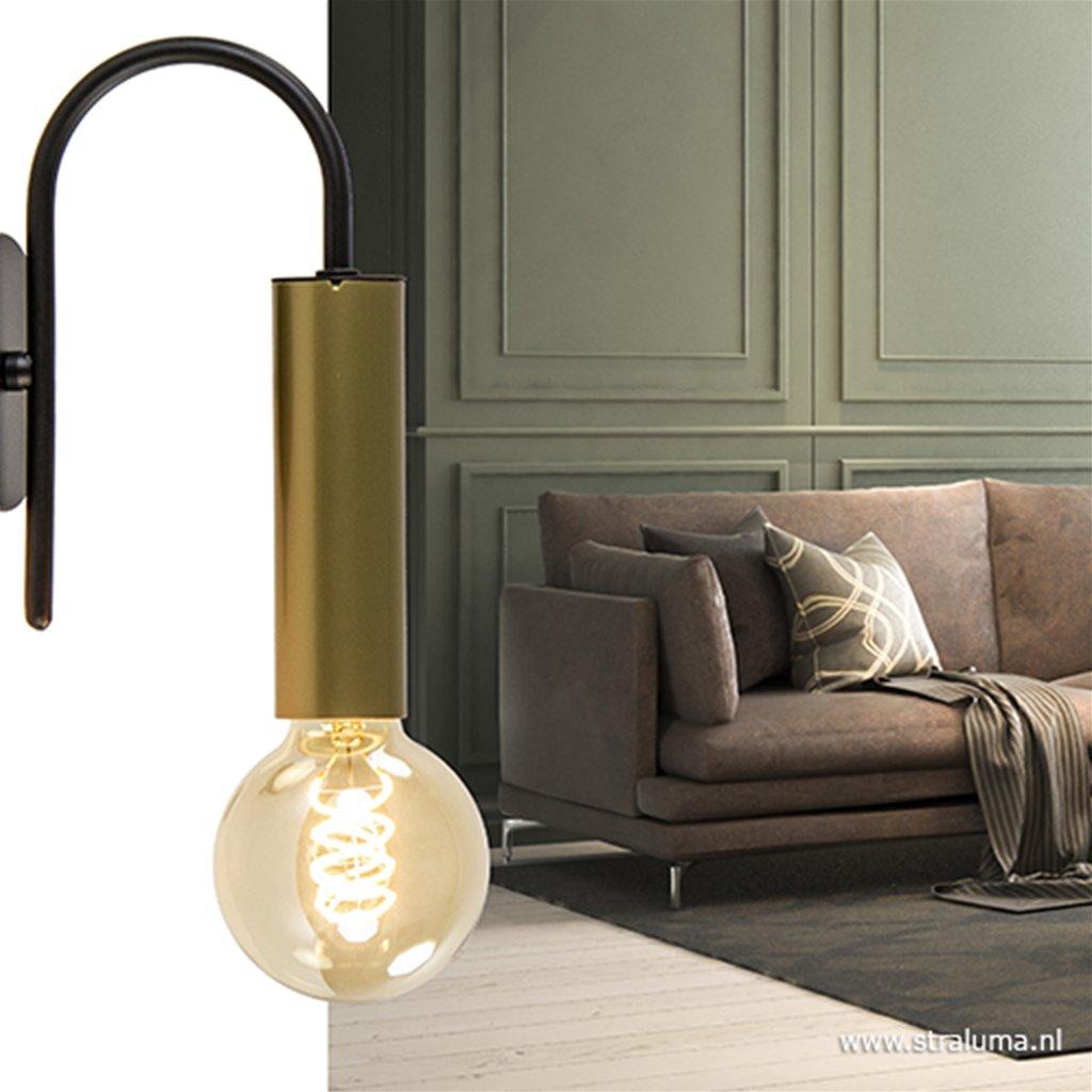 Wandlamp toog enkel zwart/mat goud