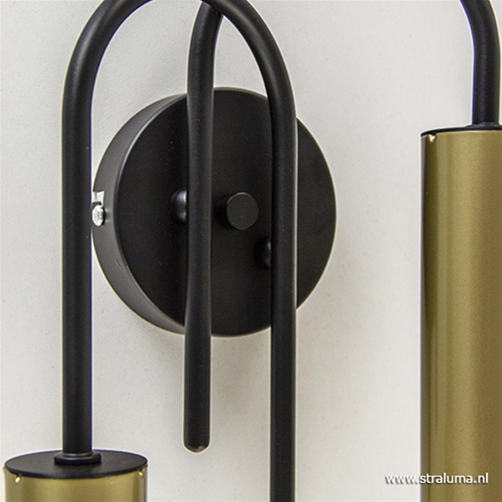 Wandlamp toog dubbel zwart/mat goud