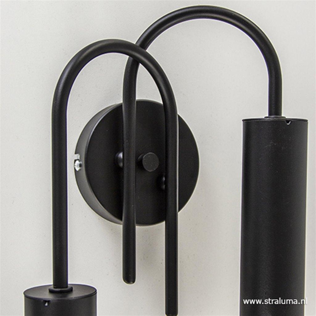 Wandlamp toog dubbel zwart