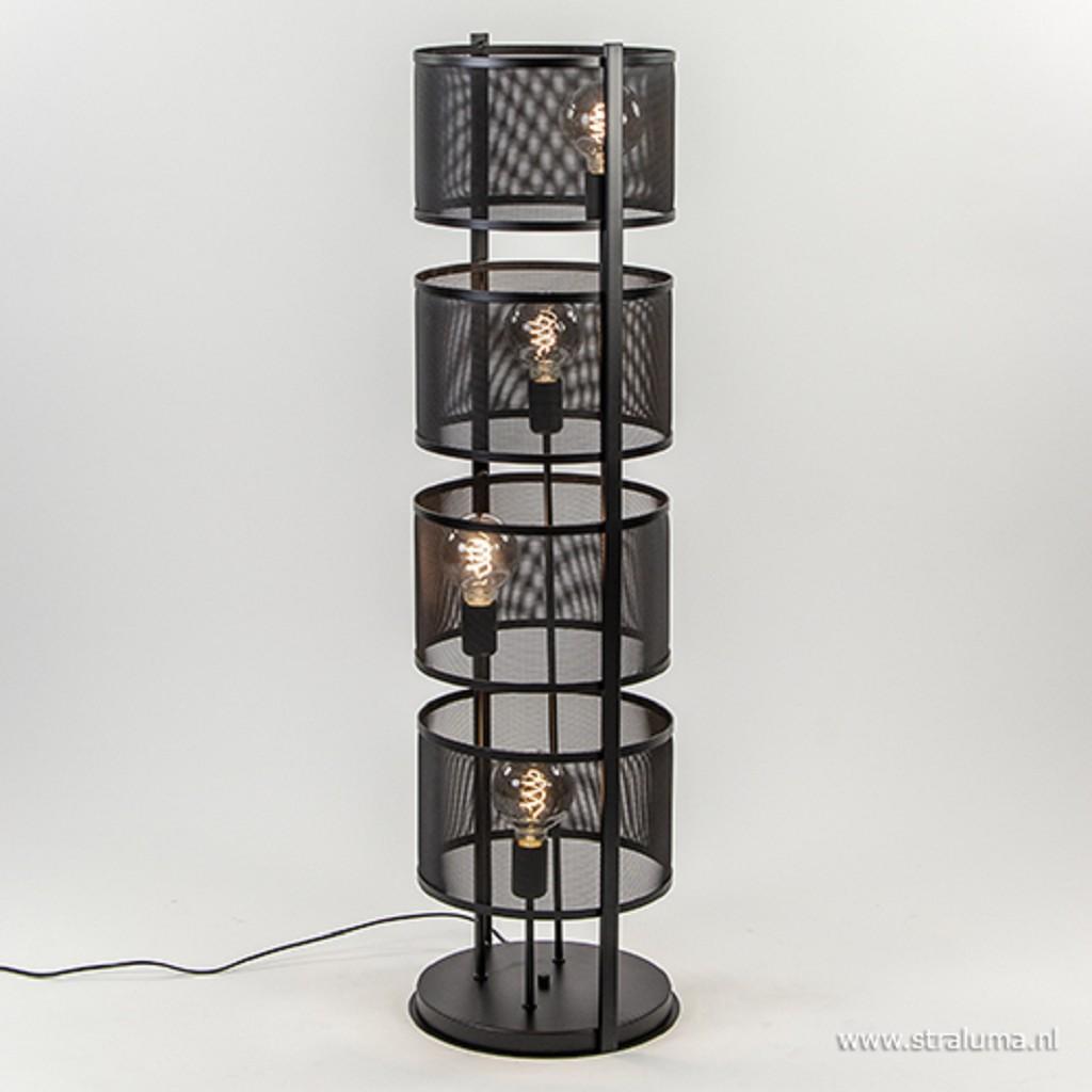 Moderne vloerlamp rond zwart metaal