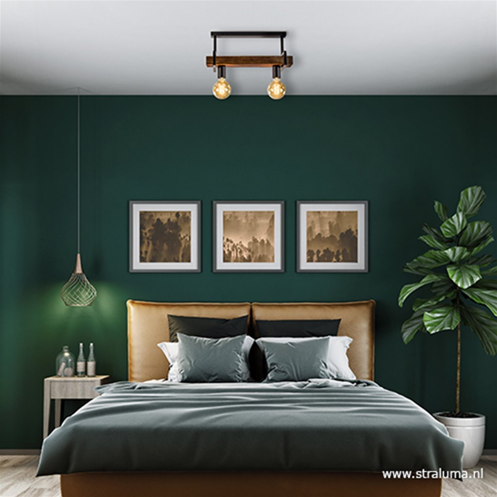 Landelijke plafondlamp houten balk 2-L
