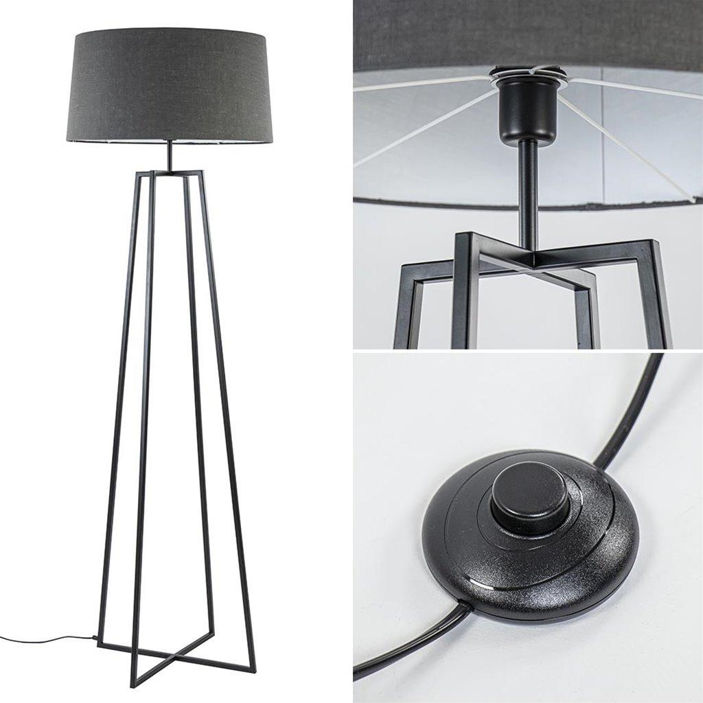 Zwarte vloerlamp modern frame excl. kap