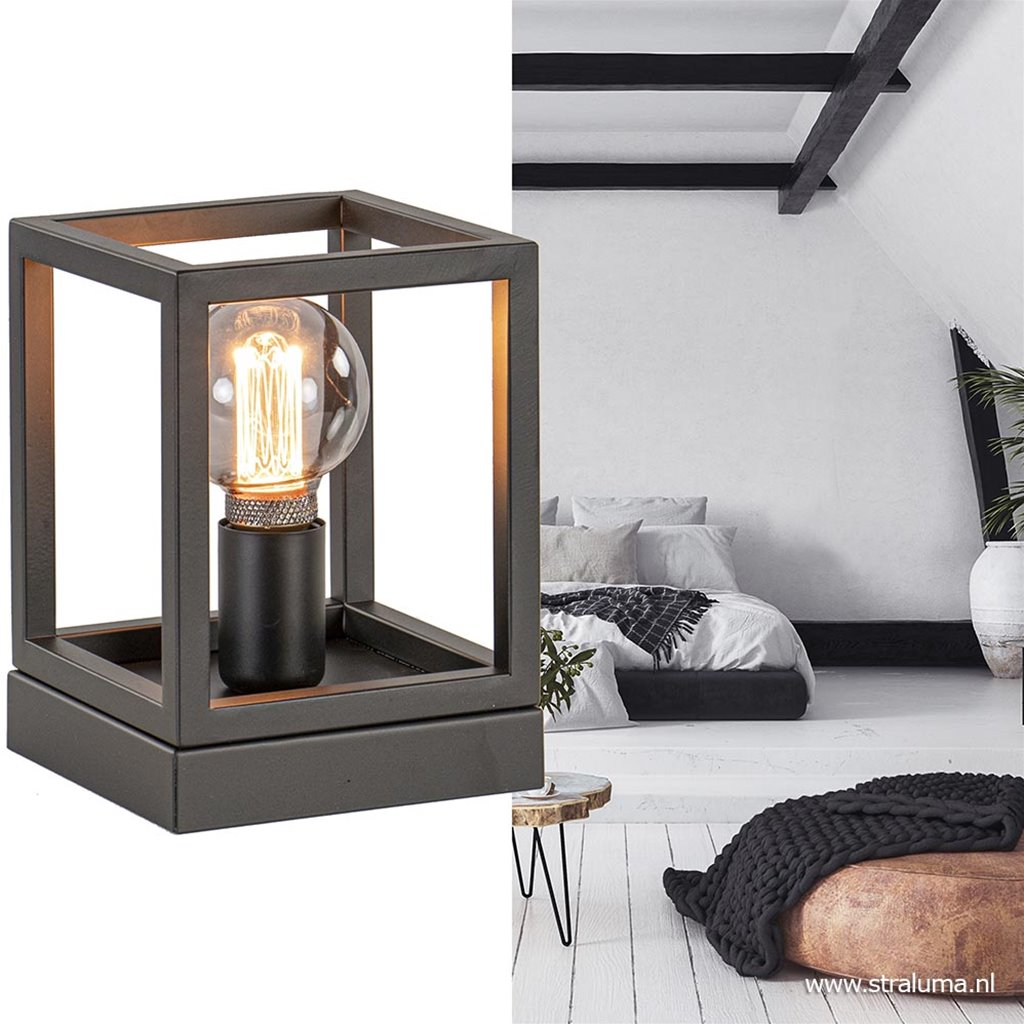 Kleine tafellamp vierkant frame zwart