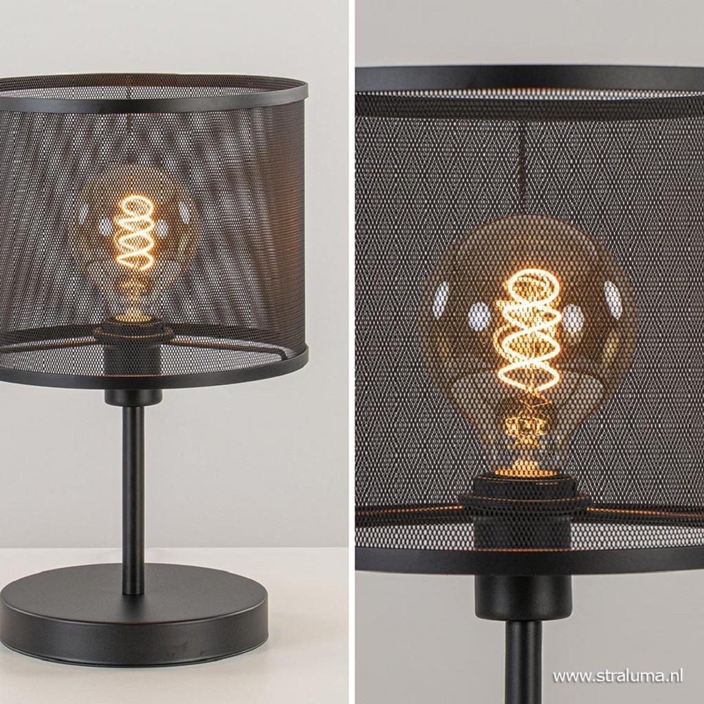 Zwarte tafellamp met ronde gaaskap