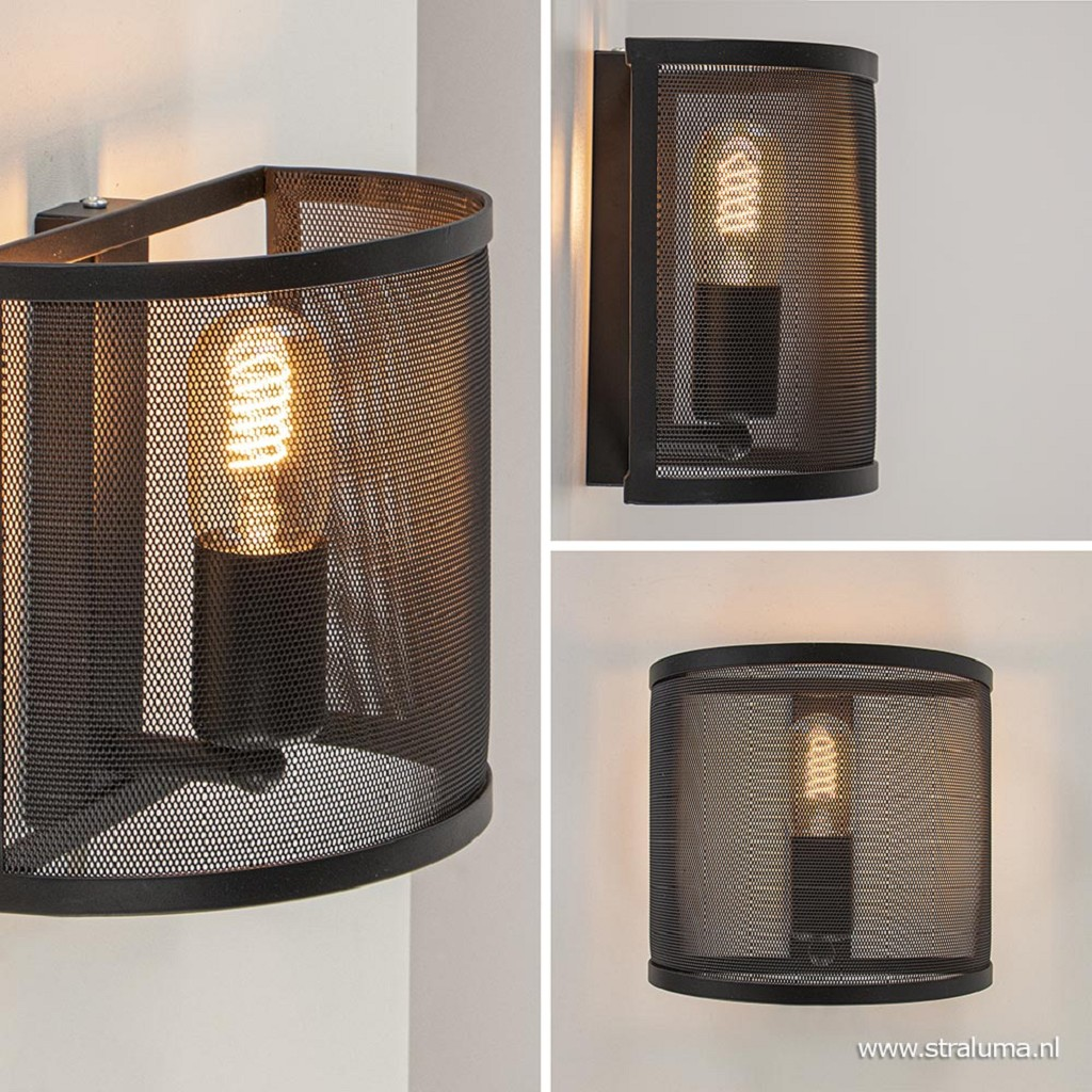 Industrieel landelijke wandlamp met gaas