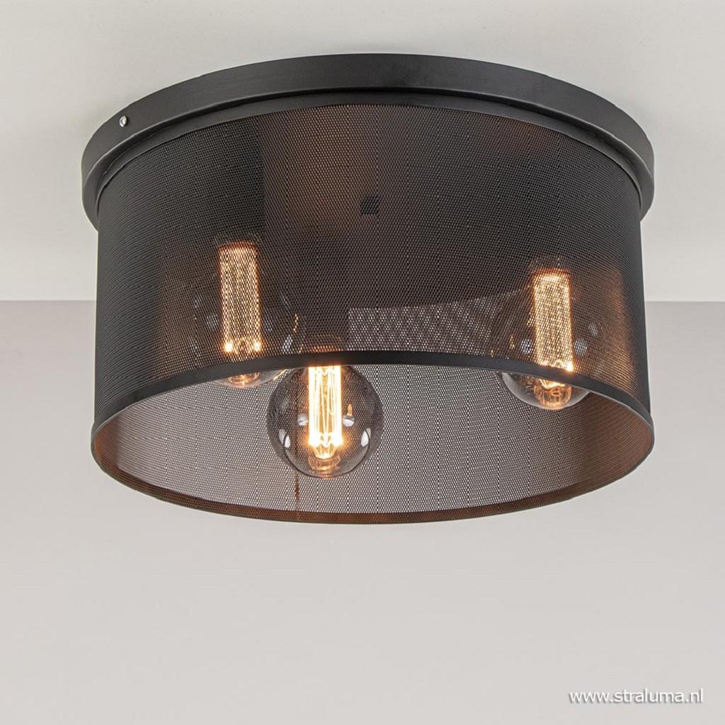 Industriële plafondlamp met gaaskap