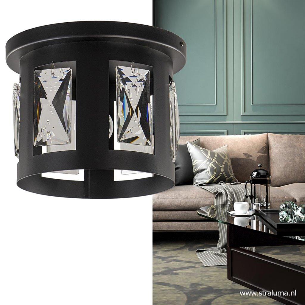 Plafondlamp zwart klein/glas pegels