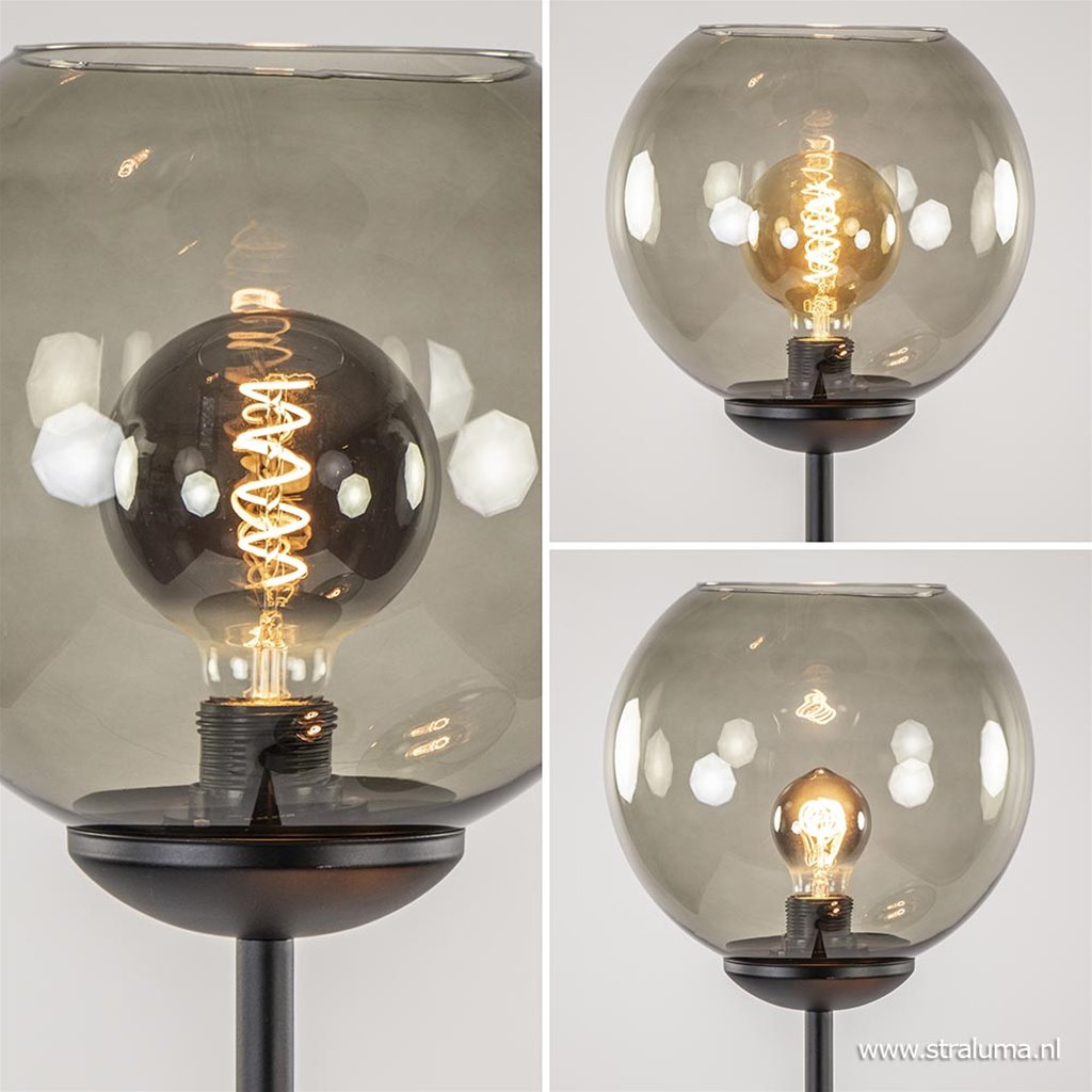 3-Lichts vloerlamp zwart met smoke glas