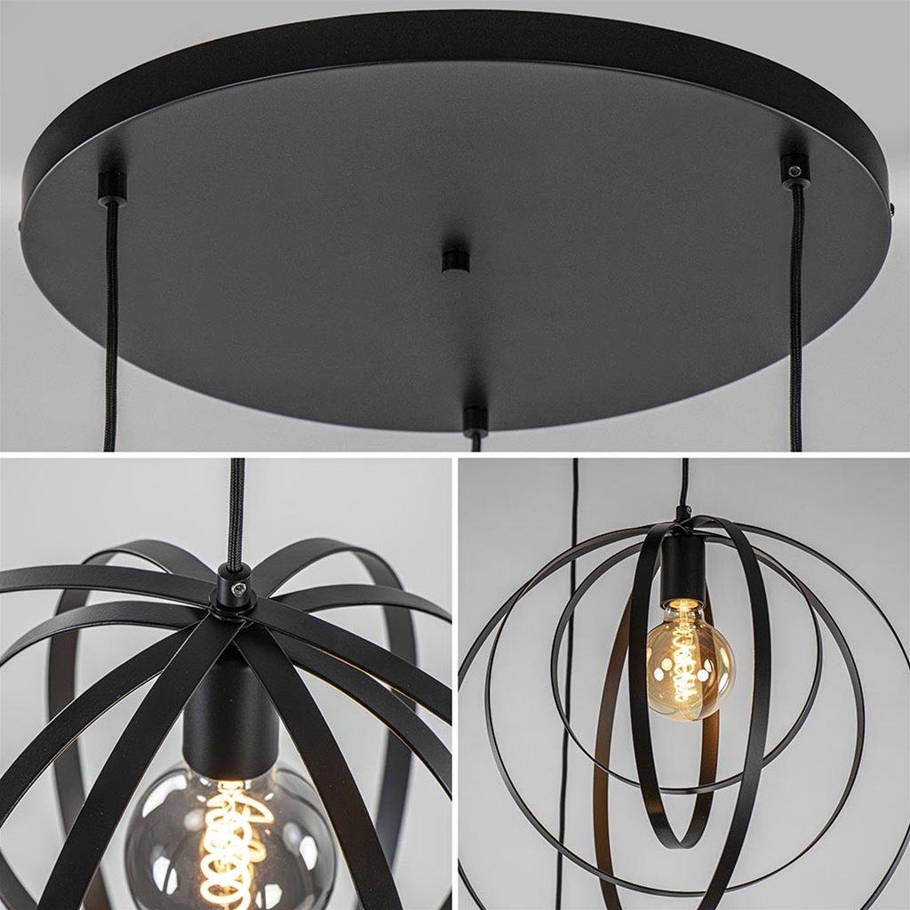 Moderne 3-lichts hanglamp ringen mat zwart