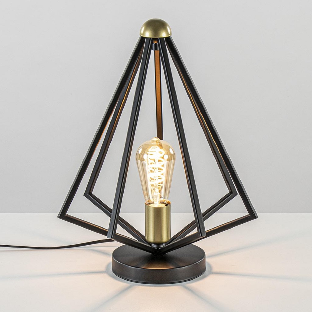 Tafellamp arrow mat zwart met goud