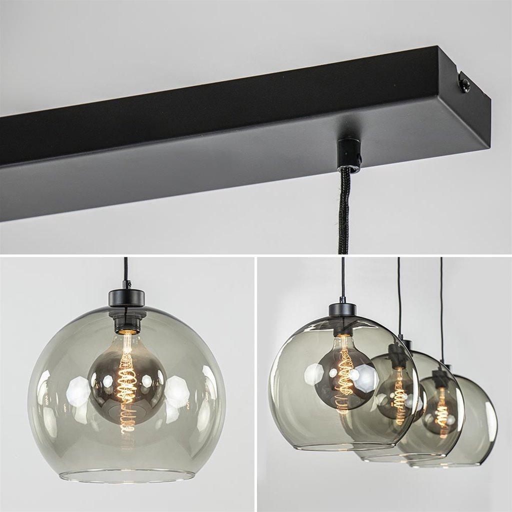 3-Lichts hanglamp zwart met smoke glas