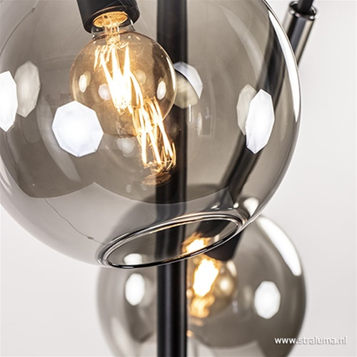 Moderne vloerlamp smoke glas verstelbaar