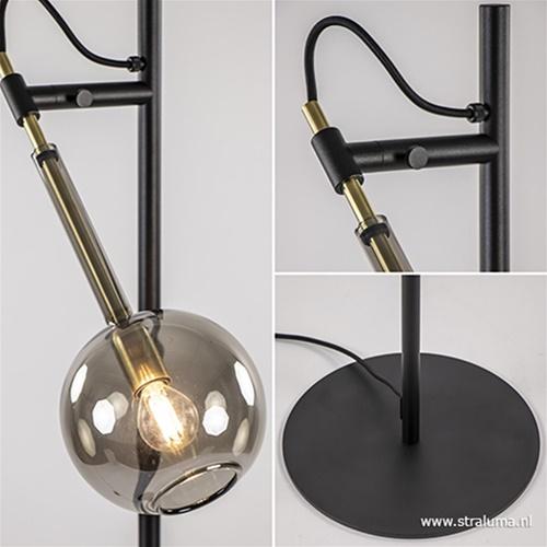 Zwart/messing vloerlamp met smoke glas