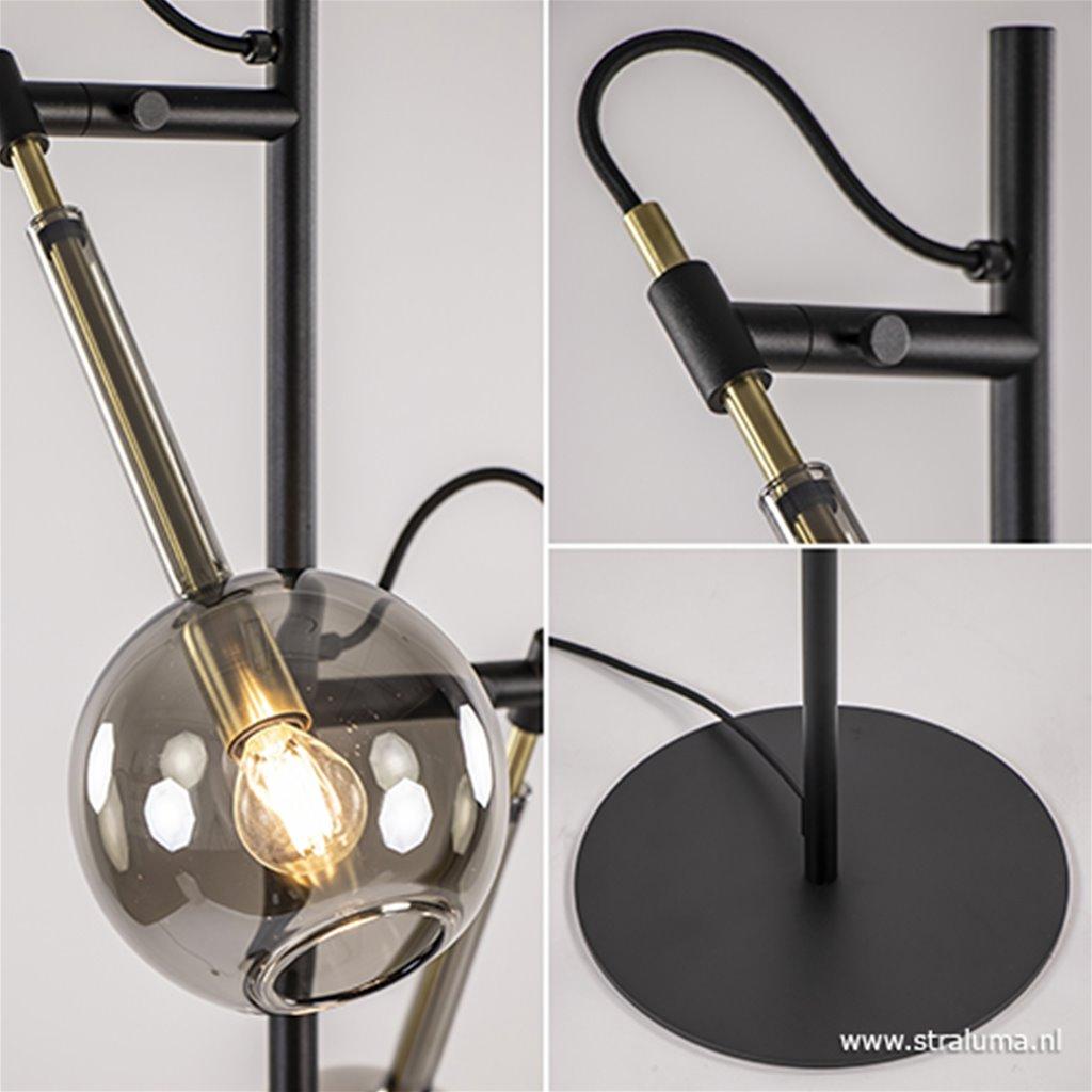 Trendy vloerlamp zwart/messing met glas