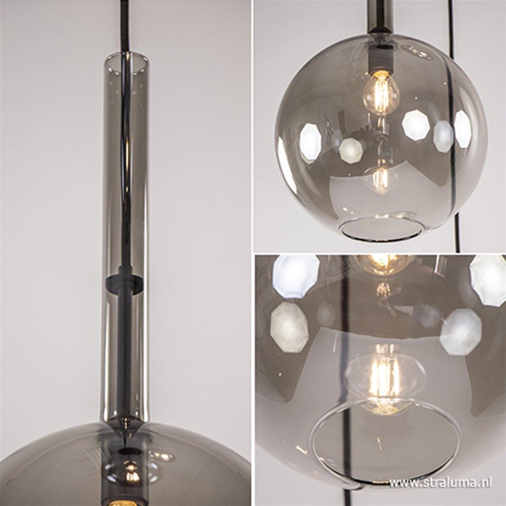 3-Lichts videlamp smoke glas met zwart