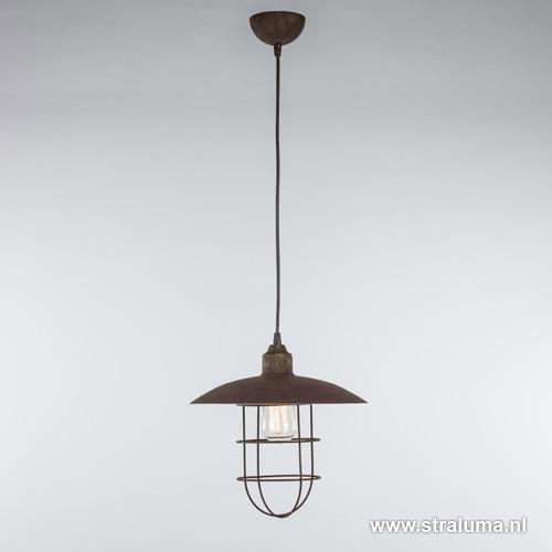 Industriële hanglamp roest met korf