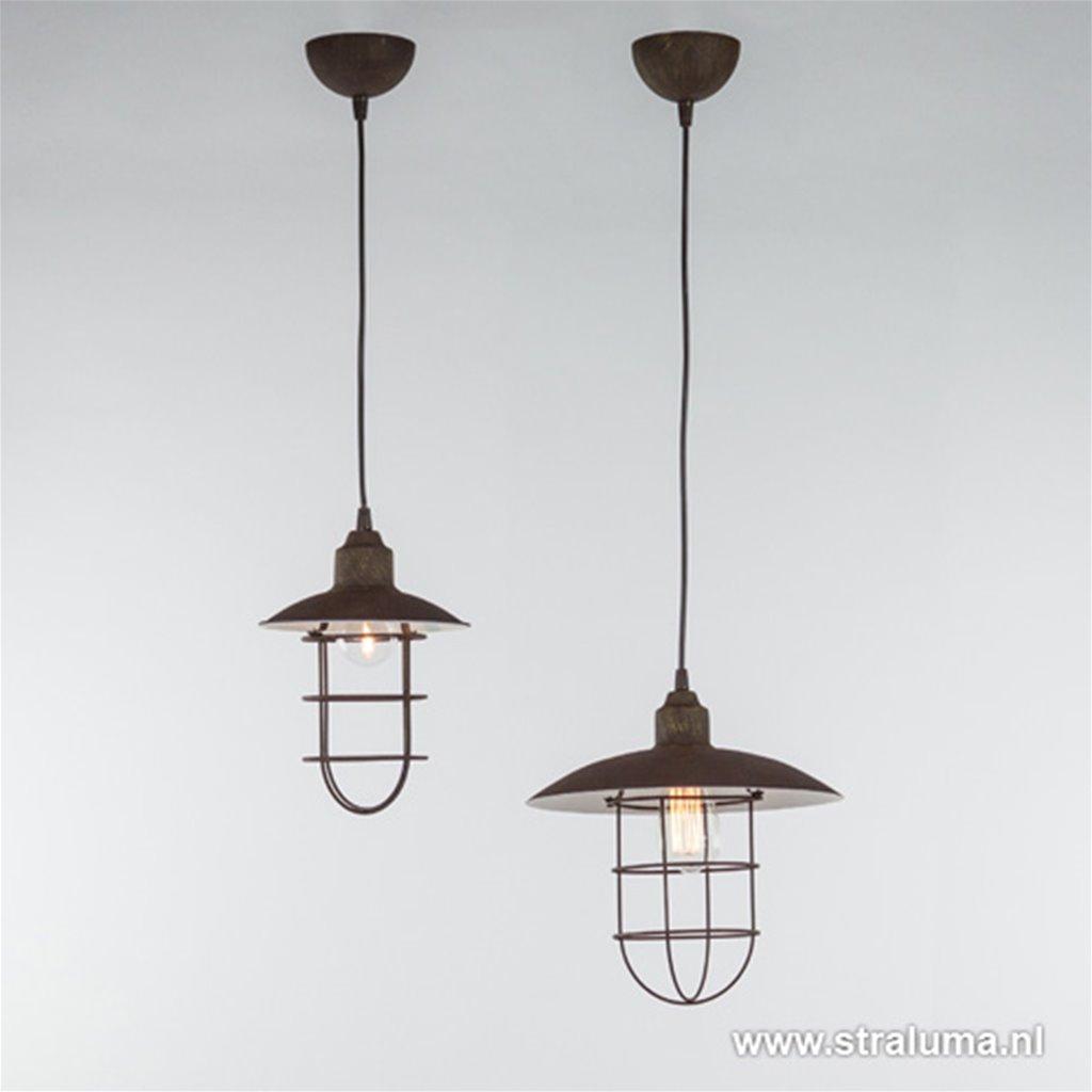 * Industriële hanglamp roest met korf