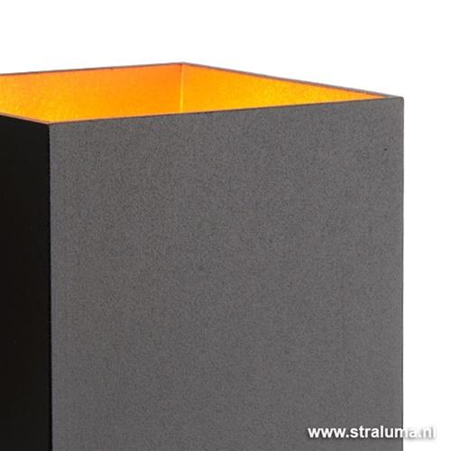 Zwarte-gouden wandlamp Xera vierkant