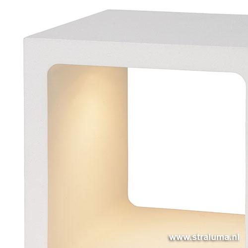 Witte tafellamp Xio kubus LED design